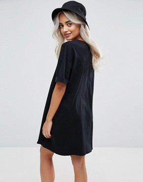 photo T-Shirt Dress with Rolled Sleeves by ASOS PETITE ULTIMATE, color Black - Image 2