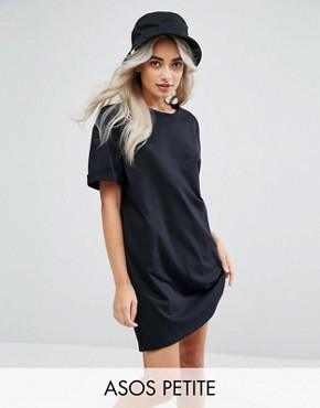photo T-Shirt Dress with Rolled Sleeves by ASOS PETITE ULTIMATE, color Black - Image 1