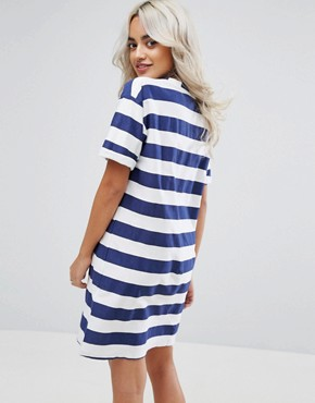 photo T-Shirt Dress with Rolled Sleeves in Stripe by ASOS PETITE ULTIMATE, color Blue White - Image 2