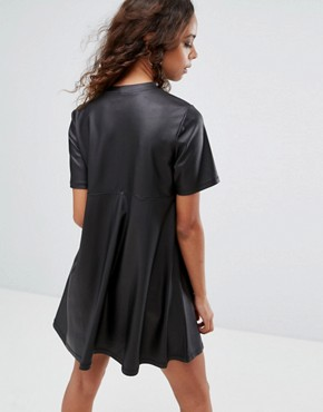 photo Mini T-Shirt Dress in PU by ASOS PETITE, color Black - Image 2
