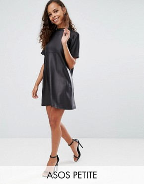 photo Mini T-Shirt Dress in PU by ASOS PETITE, color Black - Image 1