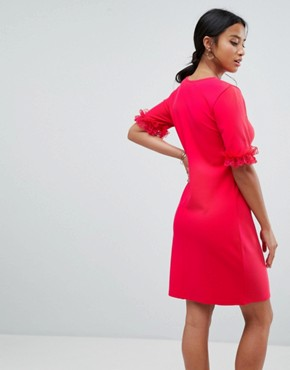 photo T-Shirt Dress in Ponte with Lace Frill Sleeve by ASOS PETITE, color Raspberry - Image 2