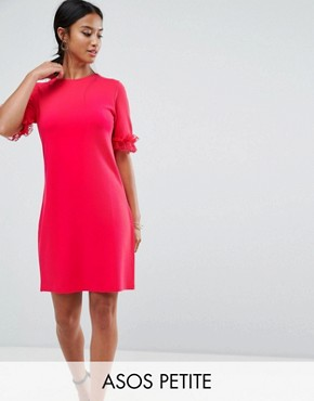 photo T-Shirt Dress in Ponte with Lace Frill Sleeve by ASOS PETITE, color Raspberry - Image 1
