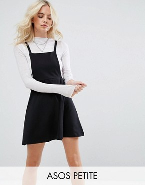photo Mini Pinafore Dress with strappy back by ASOS PETITE, color Black - Image 1