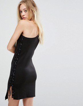 photo One Shoulder Bodycon Dress with Lace Up Detail by Glamorous, color Black - Image 2