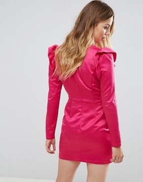 photo Shift Dress with Plunge Front and Ruffle Trim Shoulder by Glamorous, color Hot Pink - Image 2