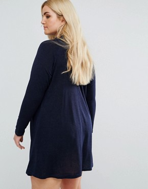 photo High Neck Swing Dress by AX Paris Plus, color Navy - Image 2