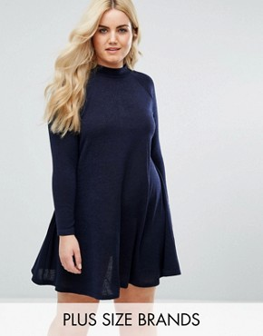 photo High Neck Swing Dress by AX Paris Plus, color Navy - Image 1