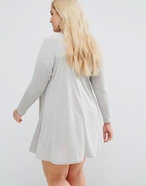 photo Embroidered High Neck Swing Dress by AX Paris Plus, color Grey - Image 2