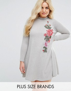 photo Embroidered High Neck Swing Dress by AX Paris Plus, color Grey - Image 1