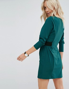 photo Mini Dress with Elastic Waist Detail by ASOS PETITE, color Deep Teal - Image 2