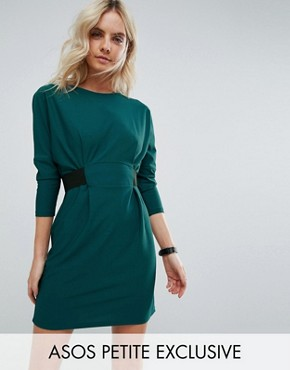 photo Mini Dress with Elastic Waist Detail by ASOS PETITE, color Deep Teal - Image 1