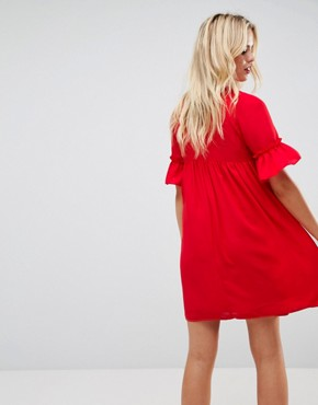 photo Shirred Smock Dress by ASOS, color Red - Image 2