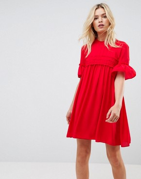 photo Shirred Smock Dress by ASOS, color Red - Image 1