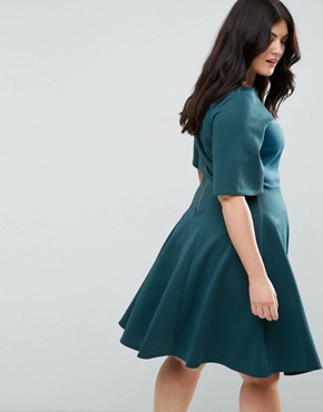 photo Kimono Sleeve Skater Dress by Closet London Plus, color Teal - Image 2