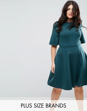 photo Kimono Sleeve Skater Dress by Closet London Plus, color Teal - Image 1