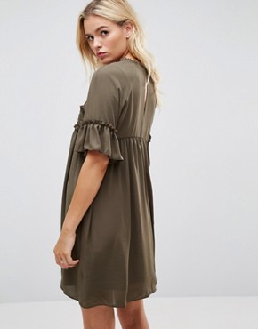 photo Shirred Smock Dress by ASOS, color Khaki - Image 2
