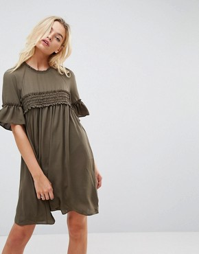 photo Shirred Smock Dress by ASOS, color Khaki - Image 1