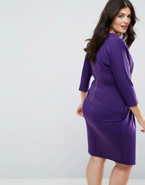photo Wrap Front Pleated Pencil Dress by Closet London Plus, color Purple - Image 2