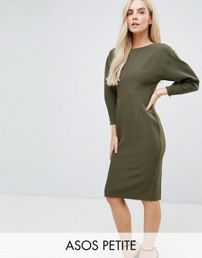 photo Clean Dome Sleeve Midi Pencil Dress by ASOS PETITE 80's, color Khaki - Image 1