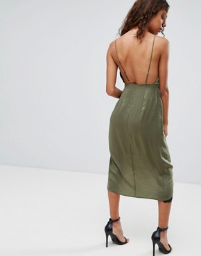 photo Hammered Satin Lace Trim Cami Sexy Wrap Midi Dress by ASOS PETITE, color Khaki - Image 2