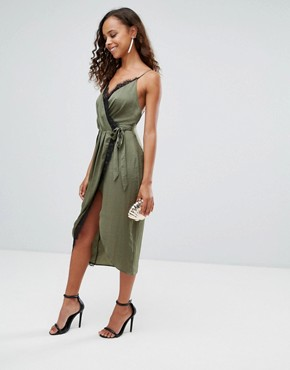 photo Hammered Satin Lace Trim Cami Sexy Wrap Midi Dress by ASOS PETITE, color Khaki - Image 4