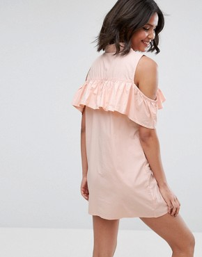 photo Cold Shoulder Frill Dress with Zip Detail by Influence, color Pink - Image 2