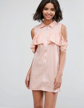 photo Cold Shoulder Frill Dress with Zip Detail by Influence, color Pink - Image 1