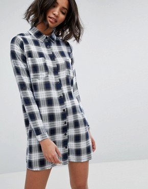 photo Check Shirt Dress by Influence, color Navy - Image 1