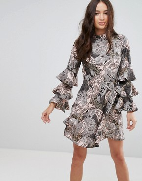 photo Paisley Dress with Ruffle Sleeves by Influence, color Multi - Image 1