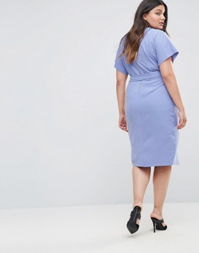 photo Short Sleeve Tie Front Dress by Closet London Plus, color Blue - Image 2
