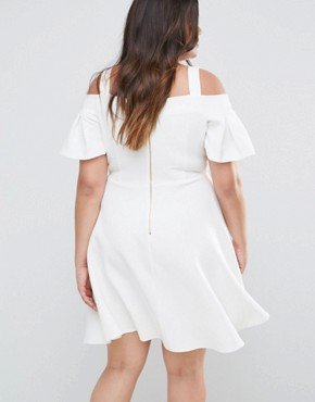 photo Cold Shoulder Skater Dress by Closet London Plus, color White - Image 2