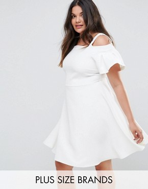 photo Cold Shoulder Skater Dress by Closet London Plus, color White - Image 1