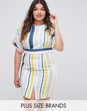 photo Striped Kimono Sleeve Pencil Dress by Closet London Plus, color Multi - Image 1