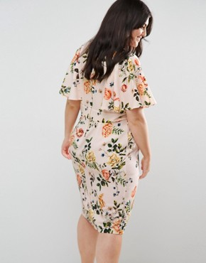 photo Floral Print Dress with Frill Sleeve by Closet London Plus, color Pink - Image 2