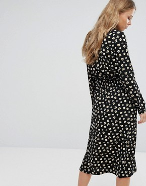 photo Printed Midi Dress by Suncoo, color Black - Image 2