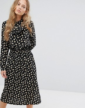 photo Printed Midi Dress by Suncoo, color Black - Image 1