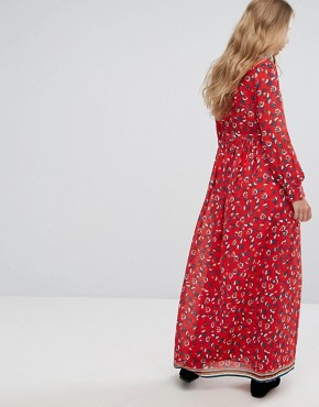 photo Floral Maxi Dress by Suncoo, color Red - Image 2