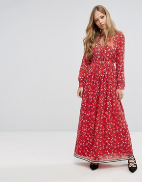 photo Floral Maxi Dress by Suncoo, color Red - Image 1