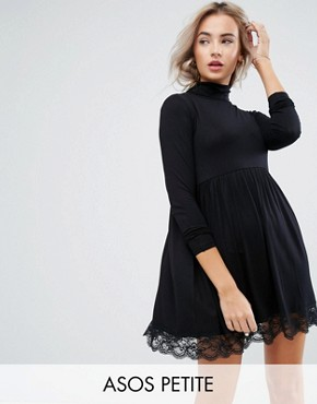 photo Polo Neck Skater Dress with Lace Hem by ASOS PETITE, color Black - Image 1
