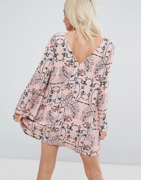 photo Button Front Long Sleeve Swing Dress by Glamorous Petite, color Pink - Image 2