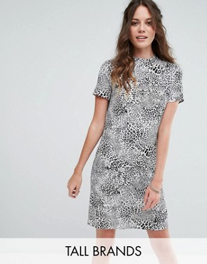 photo High Neck Shift Dress in Monochrome Leopard by Glamorous Tall, color Grey Leopard - Image 1