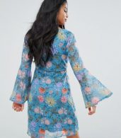 photo Long Sleeve Tea Dress in Illustrated Floral by Glamorous Petite, color Blue Pink Floral - Image 2