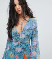 photo Long Sleeve Tea Dress in Illustrated Floral by Glamorous Petite, color Blue Pink Floral - Image 3