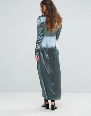 photo Wrap Front Maxi Dress with Contrast Piping in Satin by Glamorous Tall, color Denim Blue - Image 2