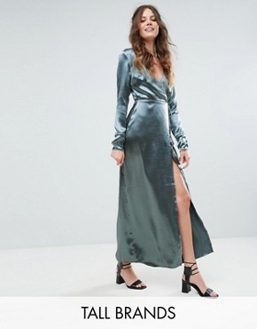 photo Wrap Front Maxi Dress with Contrast Piping in Satin by Glamorous Tall, color Denim Blue - Image 1