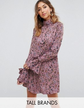 photo High Neck Swing Dress with Ribbon Tie Cuffs by Glamorous Tall, color Mauve Floral Print - Image 1