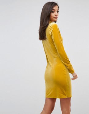 photo Bodycon Dress with High Neck in Velvet by Glamorous Tall, color Yellow - Image 2