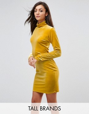 photo Bodycon Dress with High Neck in Velvet by Glamorous Tall, color Yellow - Image 1