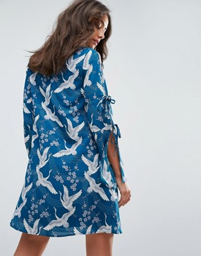 photo Swing Dress in Vintage Heron Print by Glamorous Tall, color Teal - Image 2
